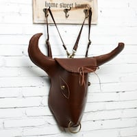 MANTIME TAUREN TOTEM HANDMADE LEATHER BACKPACK WITH HORN
