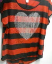 red and black stripe heart scoop neck top Knoxville, 37920