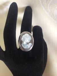 925 Mother of Pearl Framed Cameo Ring