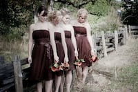 Chocolate bridesmaid dress size 18  Coquitlam, V3J 4Y9