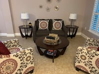 Round espresso wooden coffee table and two side tables Tampa, 33611