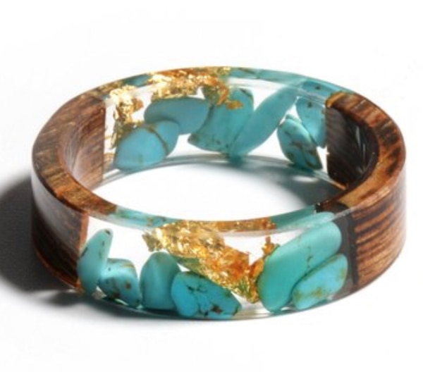 Genuine Turquoise, Gold Wood Resin Ring