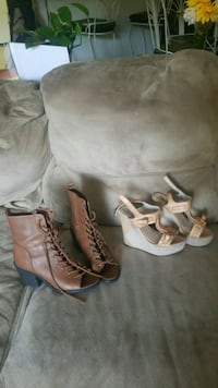 pair of brown leather boots and white wedge sandals