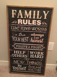 Family Rules Wooden Sign Calgary, T3M