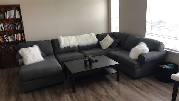 Gray sectional couch with chaise