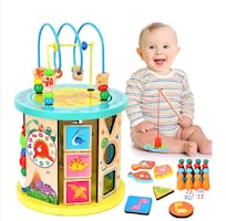 10 in 1 Multifunction Wooden Activity Cube Toys