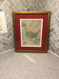 Authentic Early 1900s Map of North America  in Frame Mc Lean, 22102