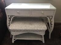 Vintage white wicker desk table and seat Los Angeles