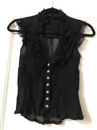 BEBE 100% Silk Black Top XS Vancouver, V5R