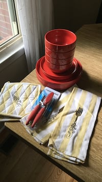 Red ceramic bowls and plate set with brand new tea towels, brand new pot holders, and brand new can opener Silver Spring, 20901