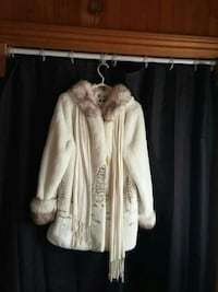beige and gray faux fur jacket