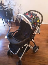 red and black lightweight stroller