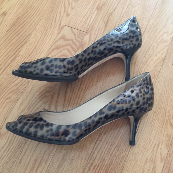 Jimmy Choo Leopard Open-Toe Pumps (37.5 EU)