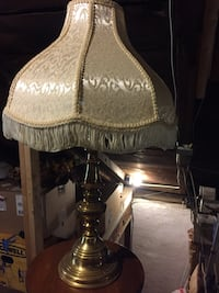 brass lamp base with gray temple lampshade Windsor township, 17402