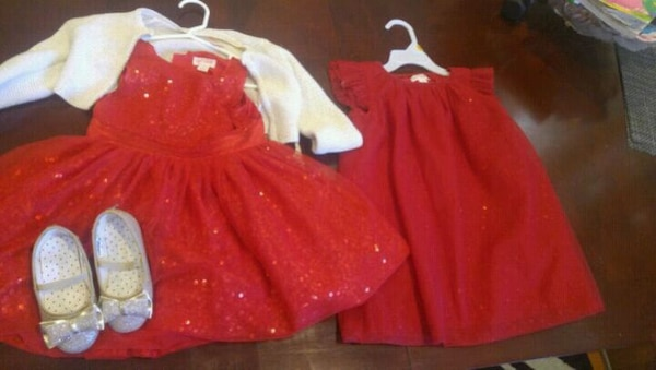 girl's red holiday dress $10 each