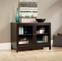 """Sauder Display Cabinet, For TV's up to 42"""", Cinnamon Cherry finish"""