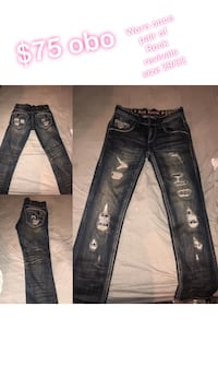 two blue and black denim jeans Hagerstown, 47346