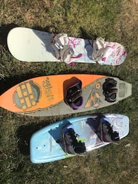 white and black snowboard with bindings Oxnard, 93033