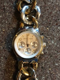 Round gold-colored chronograph watch with link bracelet 360 mi