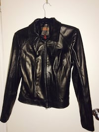 Black leather zip jacket