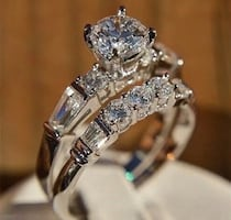 One left ... Stamped 925 Silver White Sapphire Exquisite Wedding