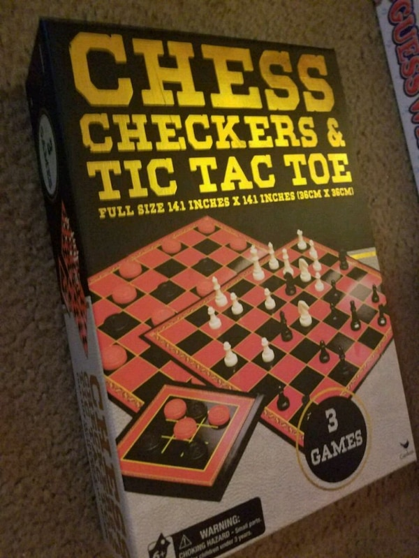3 in 1 Game Set: CHESS, CHECKERS, & TIC TAC TOE