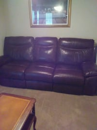 brown leather 3-seat sofa Athens