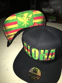 black, red, and green fitted cap Honolulu, 96817