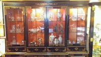 brown wooden framed glass display cabinet Vancouver