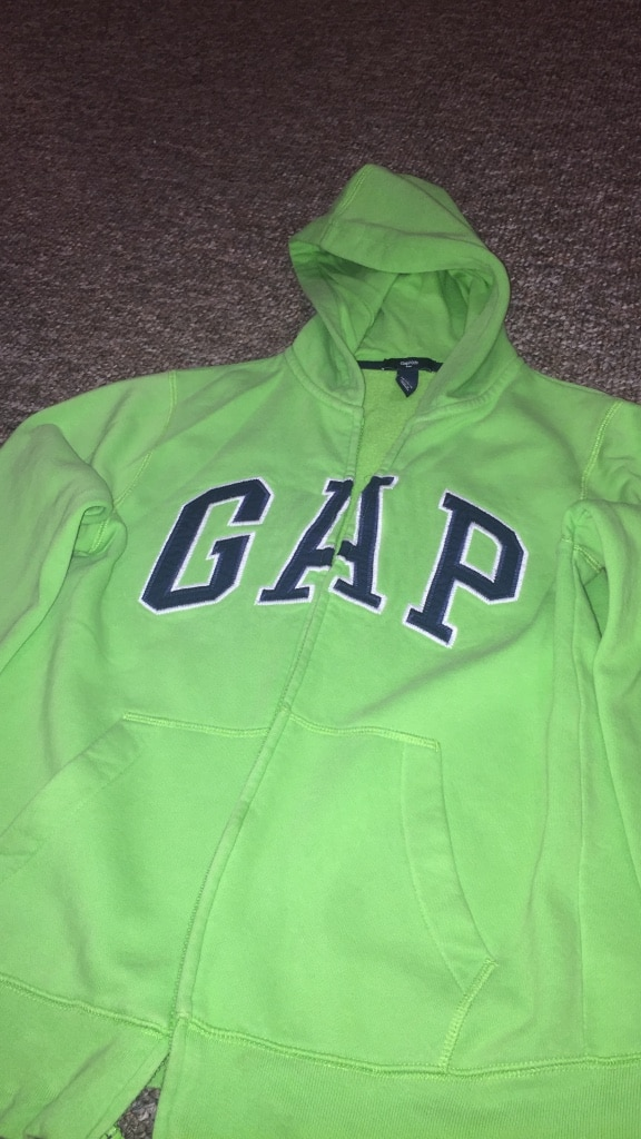 Green Gap full-zip hoodie