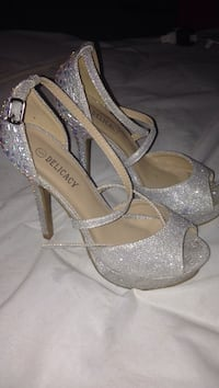 pair of glittered gray Delicacy leather peep-toe platform ankle-strap pumps