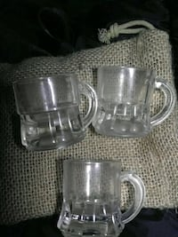 3 collectors glasses probibly from 40s or 50s era obviously aged glass