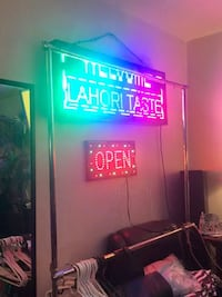 LED signage for sale - 1 multicoloured programmable sign & 1 open sign