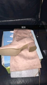 unpaired brown suede side-zip boot with box 215 mi