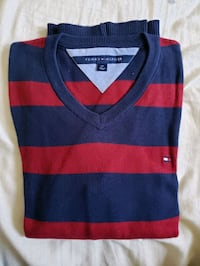 blue and red stripe v-neck sweater New Westminster, V3L 3L5
