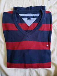 blue and red stripe v-neck sweater