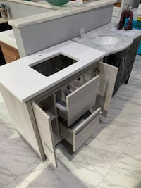 "36"" Modern Single Sink Bathroom Vanity Cabinet in Gray 3cm Quartz top Fairfax, 22031"