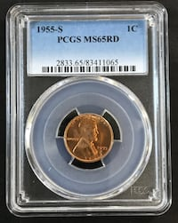 1955-S Graded PCGS MS65RD Lincoln Penny