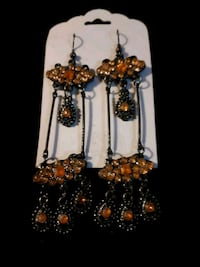 long orange dangle earrings
