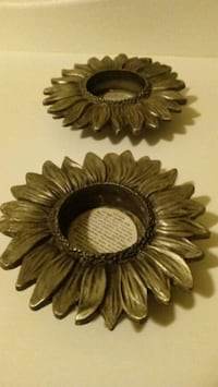 Pier 1 sunflower metal candle holders pair.