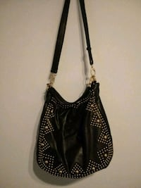 black and white leather hobo bag Stafford, 22554