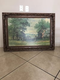 rectangular brown wooden framed painting of trees Valrico, 33594