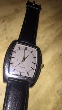 square silver analog watch with black leather strap Hamilton, L0R 1P0