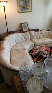 Cream and burgundy antique sectional sofa plus matching chairs Rancho Cucamonga