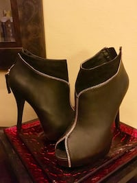 brown-and-black leather zip-up peep toe heeled shoes