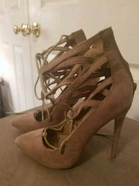 pair of brown leather open toe ankle strap heels Frederick, 21702
