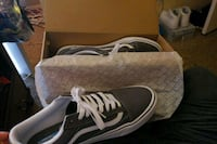 pair of gray Vans low-top sneakers