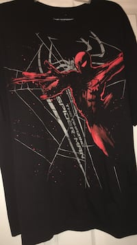 Used Black And Red Spider Man Print Crew Neck T Shirt For