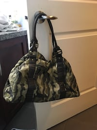 Gray and black camouflage bag