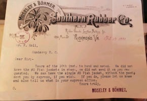 1891 Richmond VA re: Fish Jacket order from the